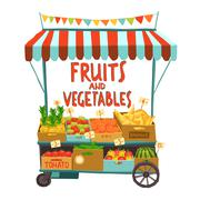Street Cart With Fruits - stock illustration