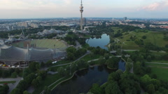 Aerial view of the amazing Olympic Park, Munich Stock Footage
