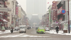 Shenyang city street, winter weather - stock footage