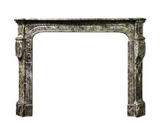Fire surround in striking veined marble old Victorian antique isolated - stock photo