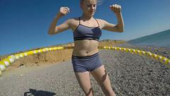 Massage hula hoop fitness exercise abdominal workout Stock Footage