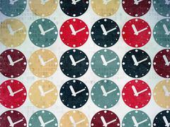 Stock Illustration of Timeline concept: Clock icons on Digital Paper background