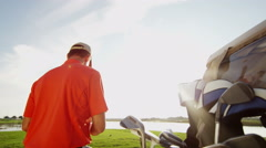 Golfer Caucasian Male Golf Sport Corporate Competition Course Profession Buggy - stock footage