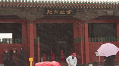 Mukden Palace entrance, snow, China Stock Footage