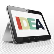 Marketing concept: Tablet Computer with Idea on  display - stock illustration