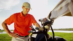 Lifestyle Career Golf Player Male Caucasian Successful Practice Club Sponsorship Stock Footage
