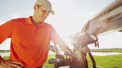 Portrait Professional Male Golfer Sport Game Lifestyle Golf Bag Clubs Buggy - stock footage