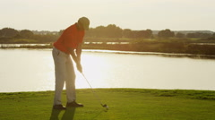 Male Caucasian Professional Golfer Sport Game Lifestyle Golf Bag Clubs Stock Footage