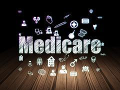Medicine concept: Medicare in grunge dark room - stock illustration