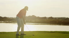 Outdoor Recreation Lifestyle Activity Golf Playing Male Caucasian Vacation - stock footage