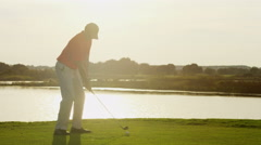 Professional Male Caucasian Playing Golf Commercial Sponsorship Swing Leisure - stock footage