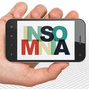 Healthcare concept: Hand Holding Smartphone with Insomnia on  display Stock Illustration