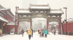 Chinese building in snow, Shenyang Stock Footage
