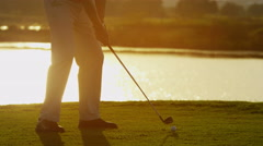 Lifestyle Career Golf Player Male Caucasian Successful Practice Club Sponsorship - stock footage