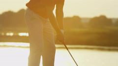 Male Caucasian Professional Golfer Sport Game Sunset Golf Bag Clubs Swing - stock footage
