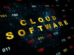 Stock Illustration of Cloud networking concept: Cloud Software on Digital background