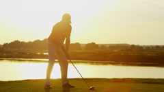 Golfer Caucasian Male Golf Sport Corporate Competition Course Profession Sunrise - stock footage