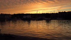 Sunset on the harbor on the avon river in bristol Stock Footage