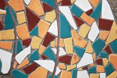 Motifs of tile on flooring cement. - stock photo