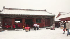 Chinese architecture in snow, China Stock Footage