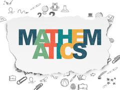 Stock Illustration of Studying concept: Mathematics on Torn Paper background
