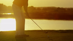 Lifestyle Career Golf Player Male Caucasian Success Practice Swing Sponsorship - stock footage