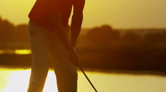 Outdoor Recreation Living Activity Golf Playing Male Caucasian Vacation Sunset - stock footage