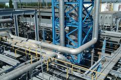 petrochemical industrial plant - stock photo