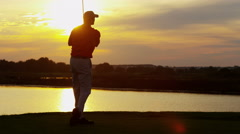 Caucasian Male Golfer Play Physical Golf Resort Global Success Target Sunset Stock Footage