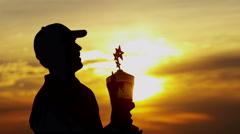 Male Caucasian Golf Player Victory Champion Celebration Success Winner Sunset - stock footage