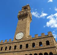 Florence Italy Historic clock tower building - stock photo