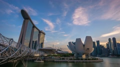 Beautiful Sunset Marina Bay Sands Stock Footage