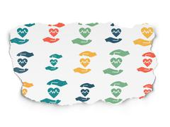 Insurance concept: Health Insurance icons on Torn Paper background Stock Illustration