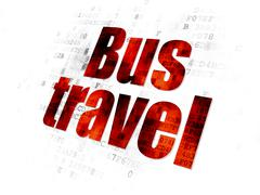 Travel concept: Bus Travel on Digital background Stock Illustration