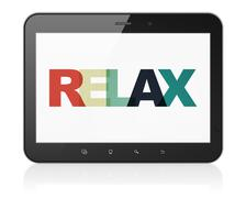 Stock Illustration of Vacation concept: Tablet Computer with Relax on  display