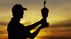 Caucasian Golfer Sunset Triumph Play Championship Development Success Trophy - stock footage