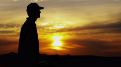 Career Golf Male Player Silhouette Tour Award Winner Trophy Club Sponsorship - stock footage