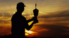 Career Golf Male Player Silhouette Tour Award Winner Trophy Club Sponsorship - stock footage