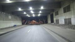 Driving Plates Multi Angle Tunnel Night 01 CAM2 Rear LA Downtown 60fps Stock Footage