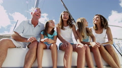 Smiling Caucasian Family Female Siblings Ocean Yacht Freedom Financial Success - stock footage
