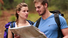 Young couple hiking together Stock Footage