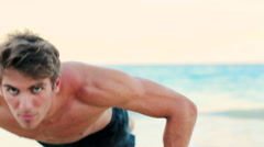Fit Young Man Exercising on Beach. Crossfit Work Out. Healthy Active Lifestyl Stock Footage