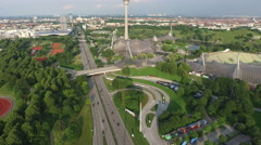 Great aerial view of Munich with the Olympic Park Stock Footage