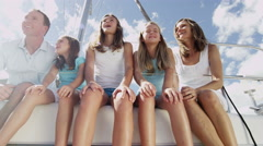 Happy Young Loving Caucasian Family Female Children Luxury Yacht Travel Portrait - stock footage