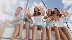 Portrait Young Caucasian Sisters Holiday Parents Tourism Yacht Sailing Insurance Stock Footage
