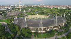 Aerial view of Munich with the Olympic Park Stock Footage