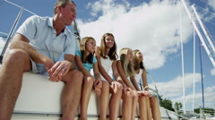 Portrait Healthy Caucasian Parents Daughters Outdoor Yacht Travel Insurance Stock Footage