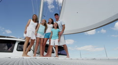 Smiling Caucasian Family Female Siblings Ocean Yacht Freedom Living Success - stock footage