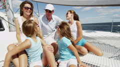 Loving Caucasian Parents Young Daughters Luxury Yacht Carefree Success Stock Footage