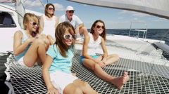 Young Caucasian Sisters Holiday Parents Tourism Yacht Sailing Travel Insurance - stock footage